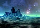 чужой планете между звёздами — Стоковое фото