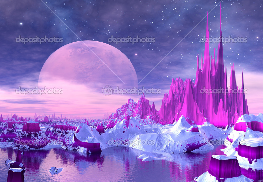 Fantasy alien landscape with purple mountains, moon and stars — Stock Photo #10695654