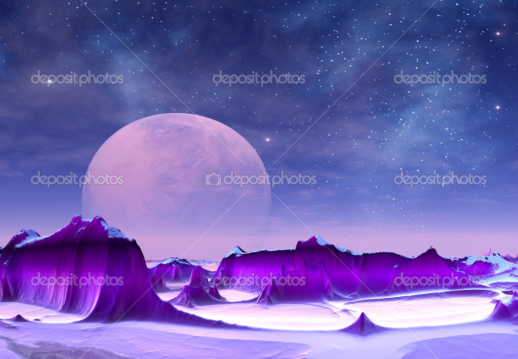Fantasy alien landscape with purple mountains, moon and stars — Stock Photo #10695692