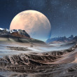 Alien Planet with Moon — Stock Photo