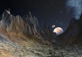 Främmande planet med månar — Stockfoto