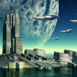 Alien Planet with Spaceships — Stock Photo #8852268