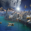 Foto de Stock  : Alien Planet and City