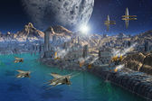 Alien Planet and City — Stock Photo