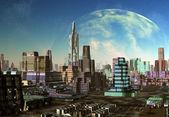 Modern City on an Alien Planet — Stock Photo