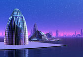 Skyline cidade fictícia — Foto Stock