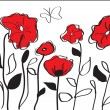 Stock Vector: Red poppies