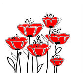 Röd vallmo — Stockvektor