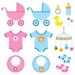 Stock Vector: Baby elements set