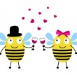 Love card with bees — Imagen vectorial