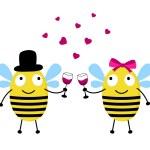 tarjeta de amor con las abejas — Vector de stock