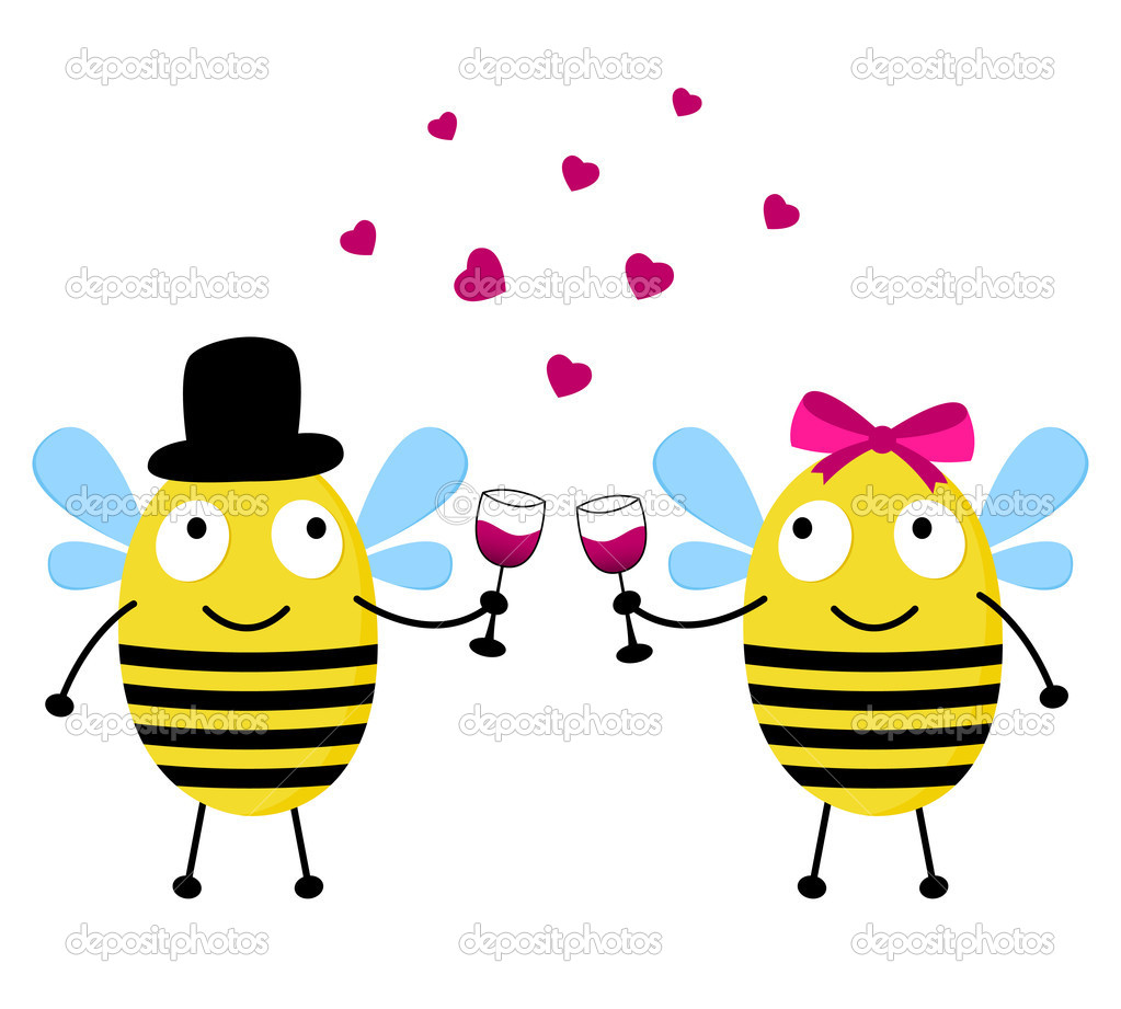 Love card with cute bees  Stock Vector #8917098