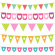 Vector bunting collection — Stock Vector