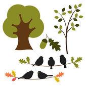 Vector conjunto de árboles y naturaleza — Vector de stock