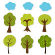 Trees vector set — Stock Vector