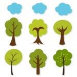 Trees vector set — Stock Vector