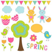 Vector elements spring set — Stock Vector
