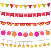 Vector bunting and garland set — Stock Vector