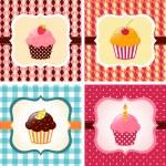 Cupcake cards set — Stock Vector