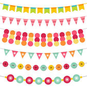 Bunting and garland set — Stock Vector