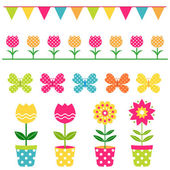 Spring design elements set — Stock Vector