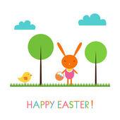 Baby bunny Easter card — Stock Vector