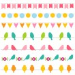 Bunting and birds borders collection — Stock Vector #9805424