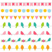 Bunting and birds borders collection — Stock Vector