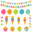 Birthday set — Stock Vector #9919731