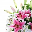 Pink and white lily bouquet closeup — Stock Photo #10210506