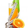 Orange juice celery and measure tape — Stock Photo