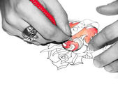 Tatto artist drawing sketch — Stock Photo