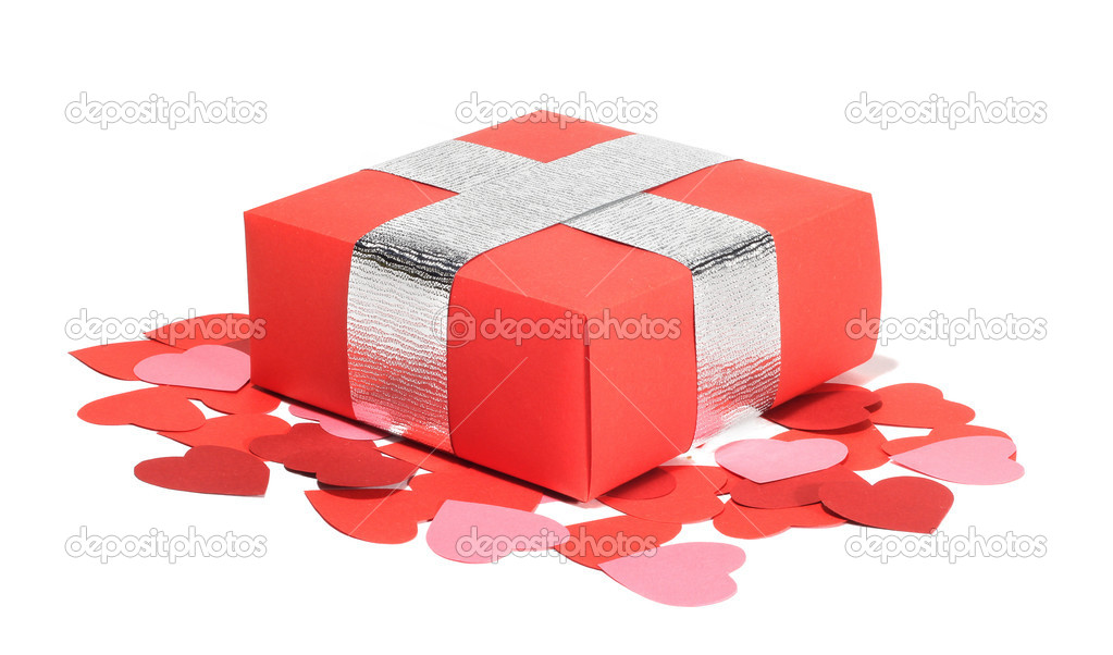 Valentines Day gift in red box and small hearts isolated on white  Stock Photo #8501146