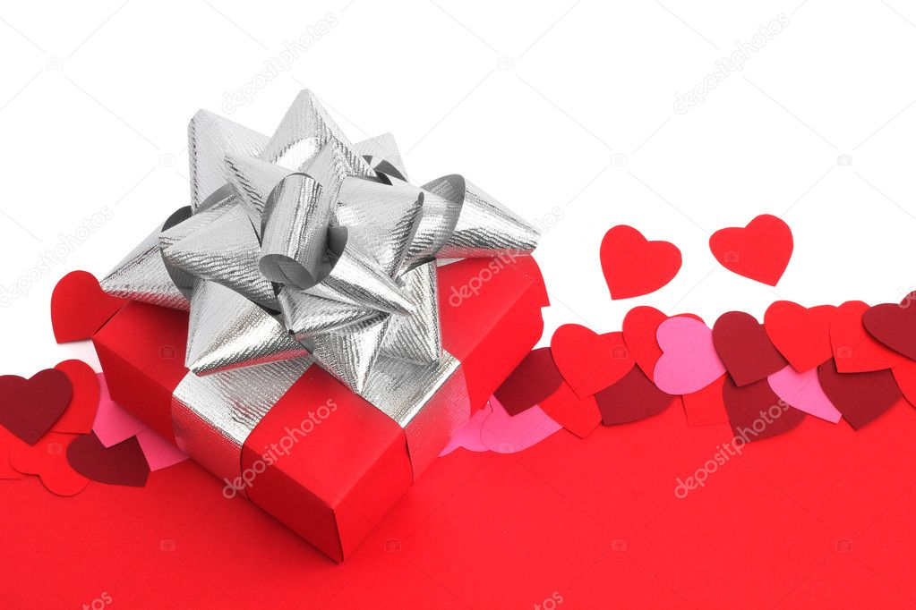 Valentines day background with gift and copy space — Stock Photo #8507415
