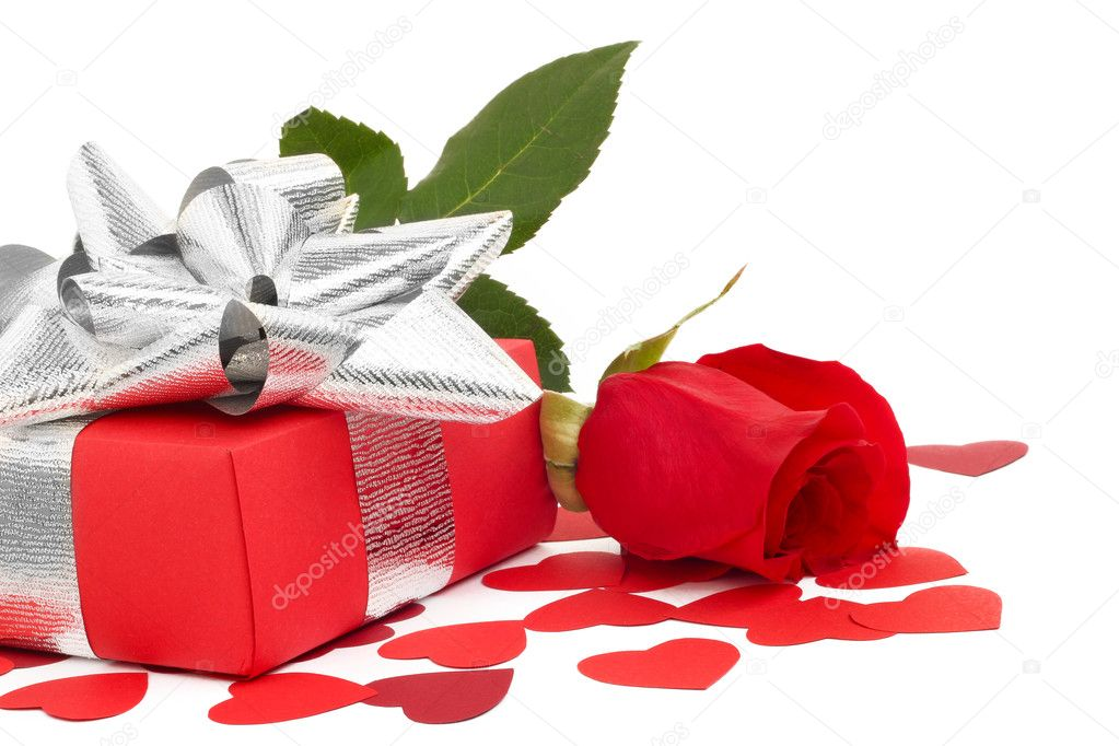 Valentines Day gift in red box with rose and small hearts isolated on white — Stock Photo #8526535