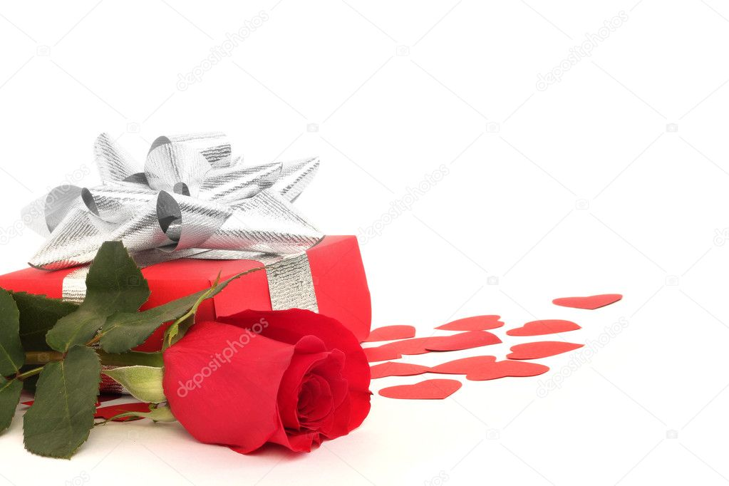 Valentines Day gift in red box with rose and small hearts isolated on white — Stock Photo #8526537