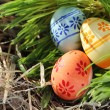 Easter eggs on green grass and hay — Stock Photo #9562765