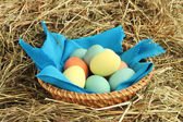Basket of easter eggs on hay — Stock Photo