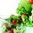 Stock Photo: Light lettuce and tomatoes flying salad concept