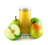 Apple and pear juice with apples and pears — Stock Photo
