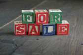 For sale wood blocks — Stock Photo