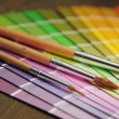 Color guide and brushes — Stock Photo