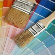 Brushes on color palette - Stock fotografie