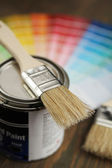 Brush, painting and color palette — Stock Photo