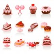 Sweet pastry icons — Stock Vector