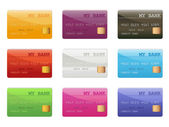 Set of colored credit cards — Stock Vector