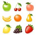 Fruit icon set — Stock Vector