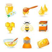 ハチミツと養蜂製アイコン — ストックベクタ