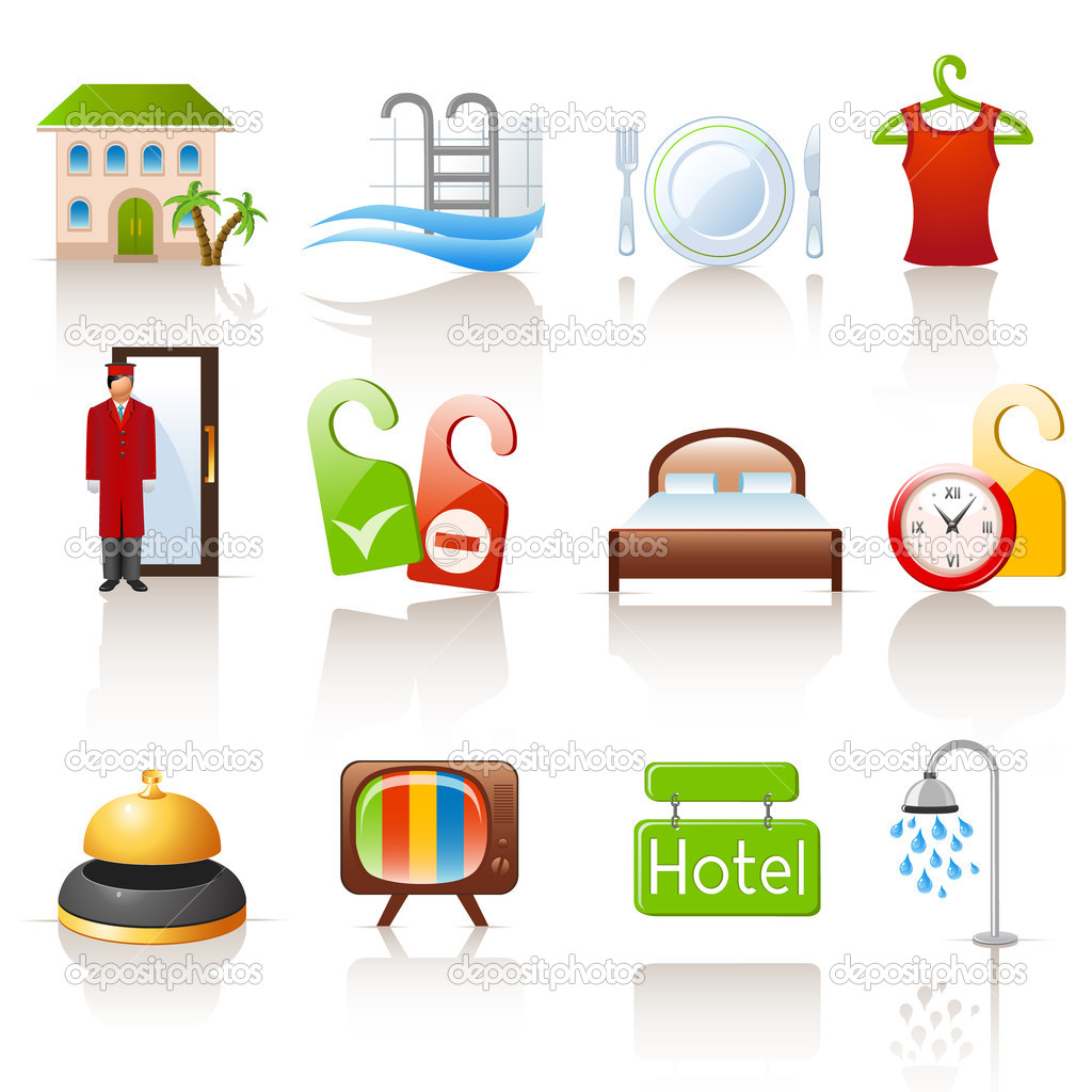 Set of 12 colorful hotel icons  Stock Vector #8875913