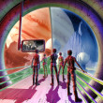 Spaceship interior and alien planet — Stock Photo